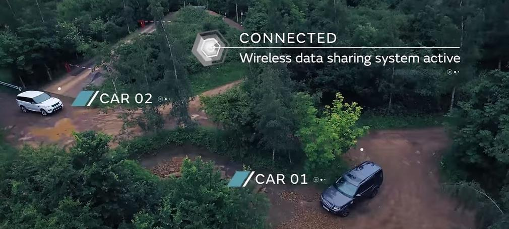 two land rover vehicles communicating wirelessly