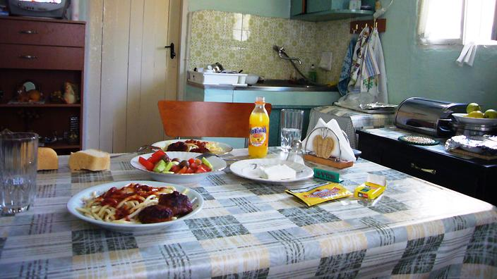The small kitchen in the family's home in Florina, Greece.