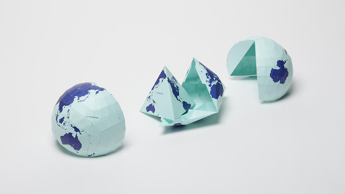 The map can fold into a tetrahedron or even a sphere