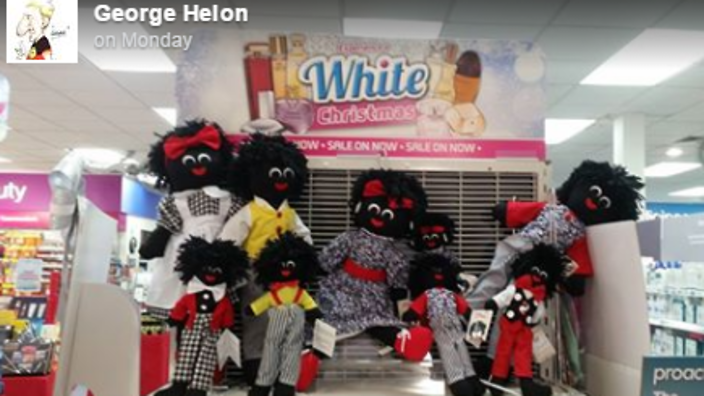 White Christmas Minstrel Show.Offensive White Christmas Display Sparks Calls For