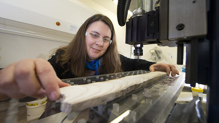 Prof Nerilie Abram working on an ice core sample