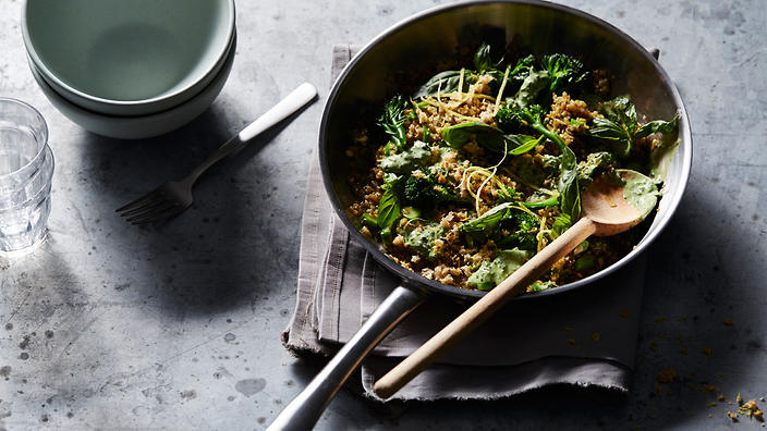 Freekeh risotto with broccolini