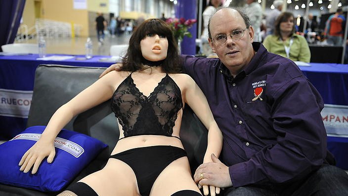 Engineer-inventor Douglas Hines poses with his sex robot