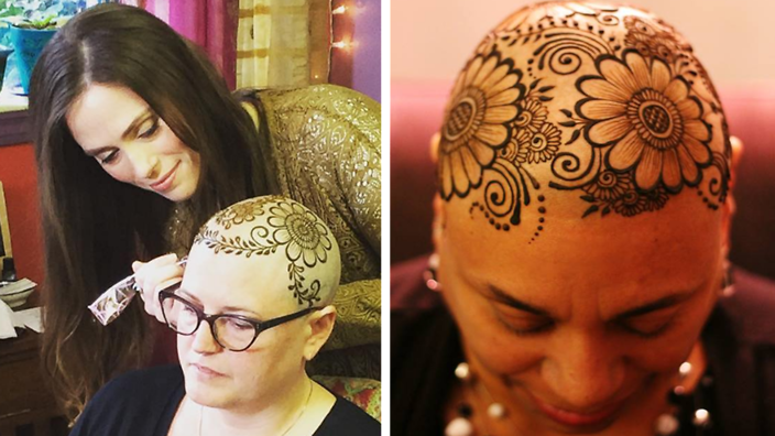 These henna crowns for chemotherapy patients are