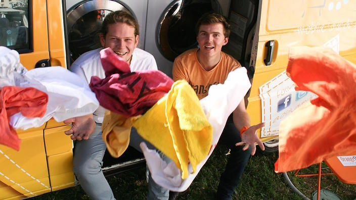 Nic Marchesi and Lucas Patchett are the founders of Orange Sky Laundry, a mobile washing service for the homeless.