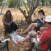 Local indigenous woman Mandy Muir teaches tourists how to weave at Murdudjurl homestead in Kakadu.