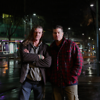 Third generation pub baron turned homeless Australian, Stu Laundy (R) with homeless buddy, 'Kingy' Johny King (L) on the streets of Melbourne.