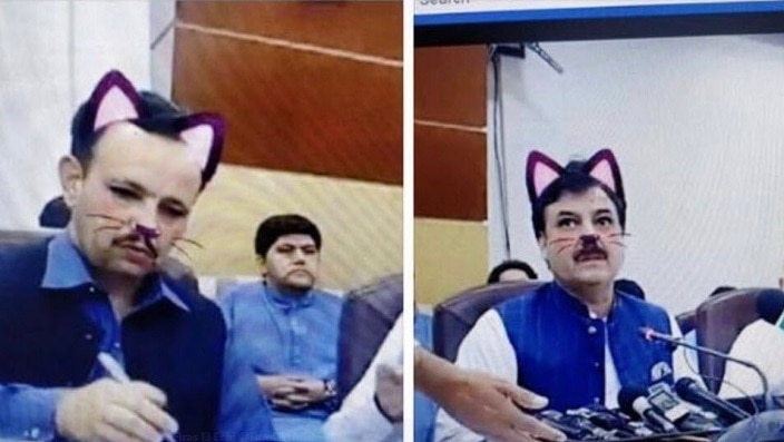 Government officials in Pakistan forget to turn off cat filter during Facebook Live press conference | SBS Your Language