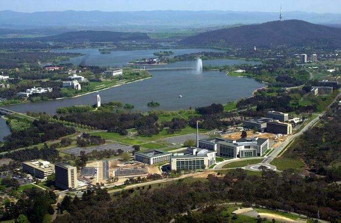 Overlooking Lake Burley Griffin in Canberra.