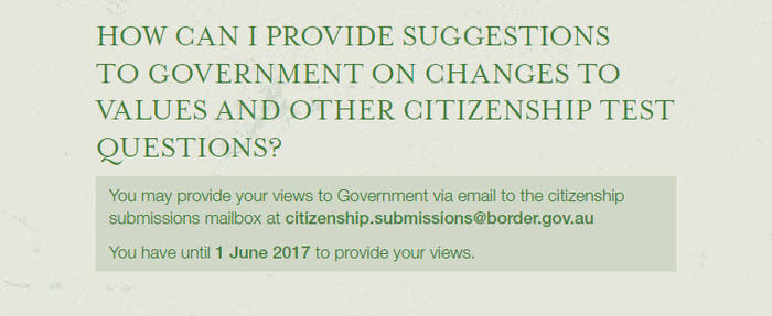 HOW CAN I PROVIDE SUGGESTIONS TO GOVERNMENT ON CHANGES TO VALUES AND OTHER CITIZENSHIP TEST QUESTIONS?