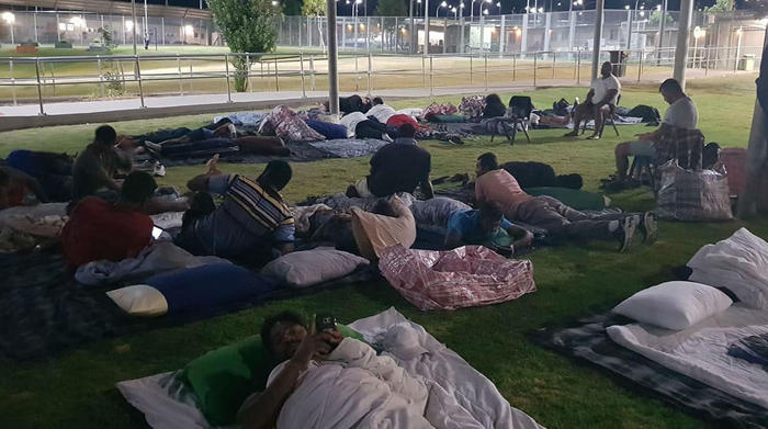 Protesters sleeping in the open at Yongah Hill detention centre.