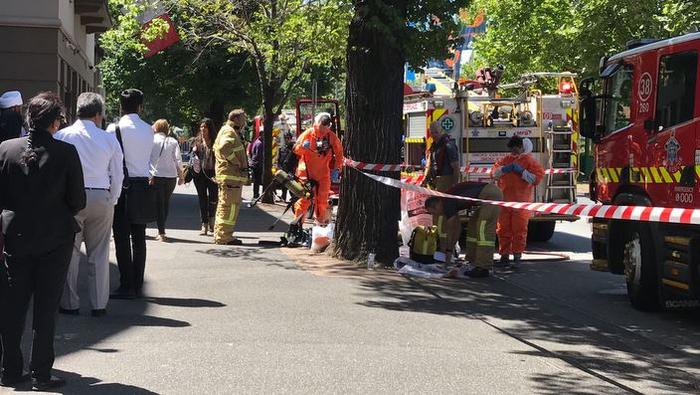 Hazmat and Fire crew outside the Indian Consulate
