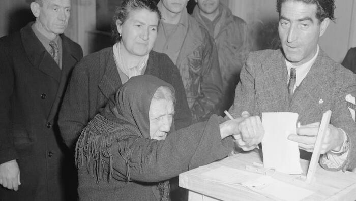 Elderly Woman at Voting Box