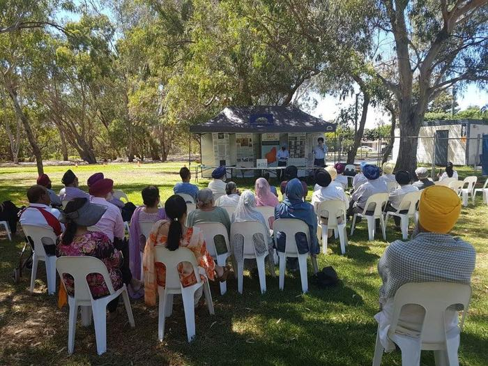 Sikh community gathering at the historic WA Sikh Cremation site at Adenia Reserve, Riverton.