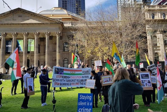 members of Kurdish community in Melbourne at protest against Iran